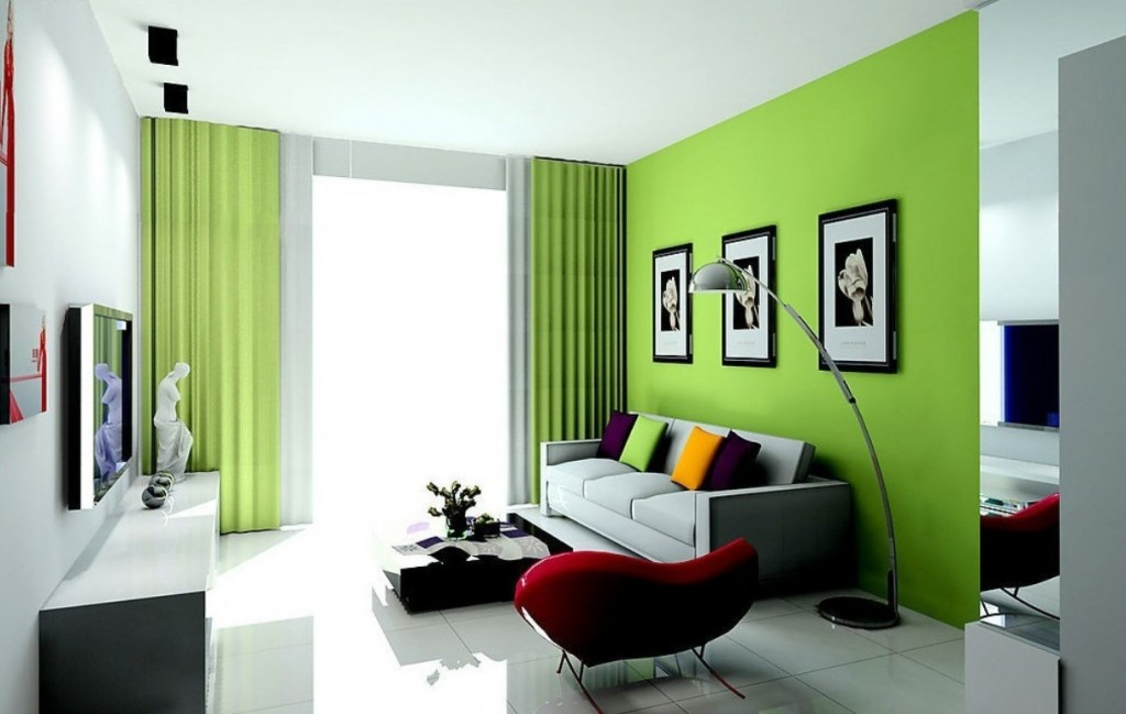 Green-Paint-Colors-For-Living-Room-With-Floor-Stand-Lamp