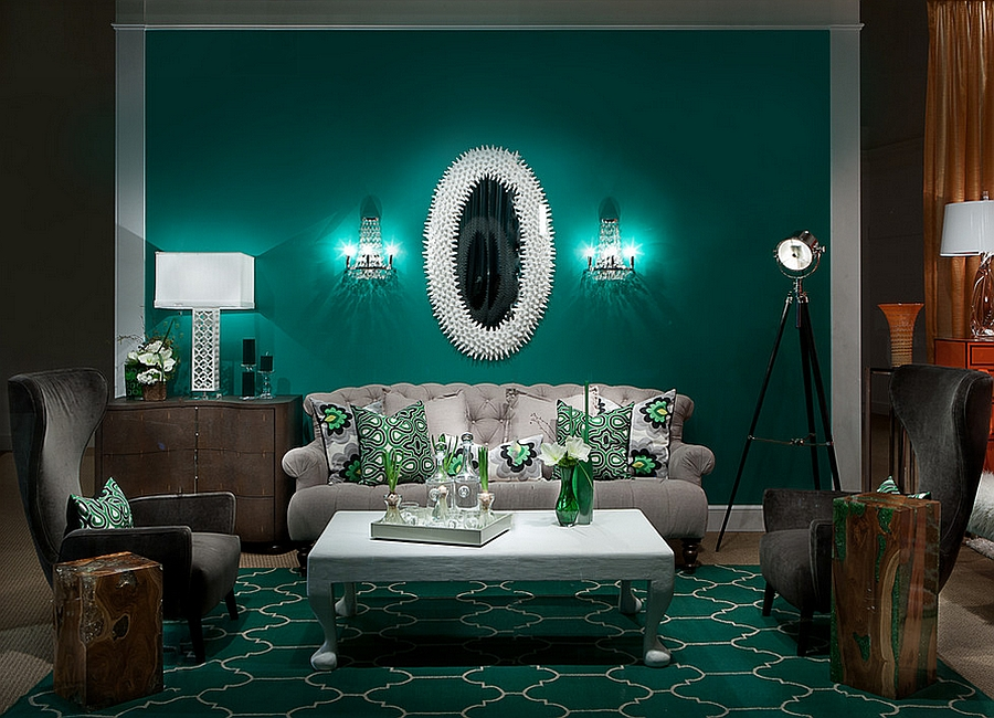 Stylish-Living-Rooms-The-Refleshing-Charm-Of-Green-With-Rich-Emerald-Green-Steals-The-Show-In-The-Living-Room-Grey-Sofas-Motif-Pillow-White-Table-Grey-Sofas-Table-Lamp-Green-Rug