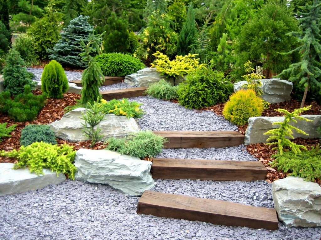 fascinating-garden-decor-fabulous-kid-backyard-landscape-design-ideas-with-pebble-garden-floor-including-pine-tree-in-garden-interesting-design-for-ki