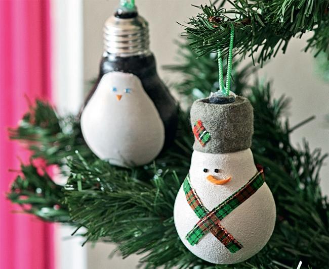 diy-christmas-ornaments-light-bulbs-penguin-snowman