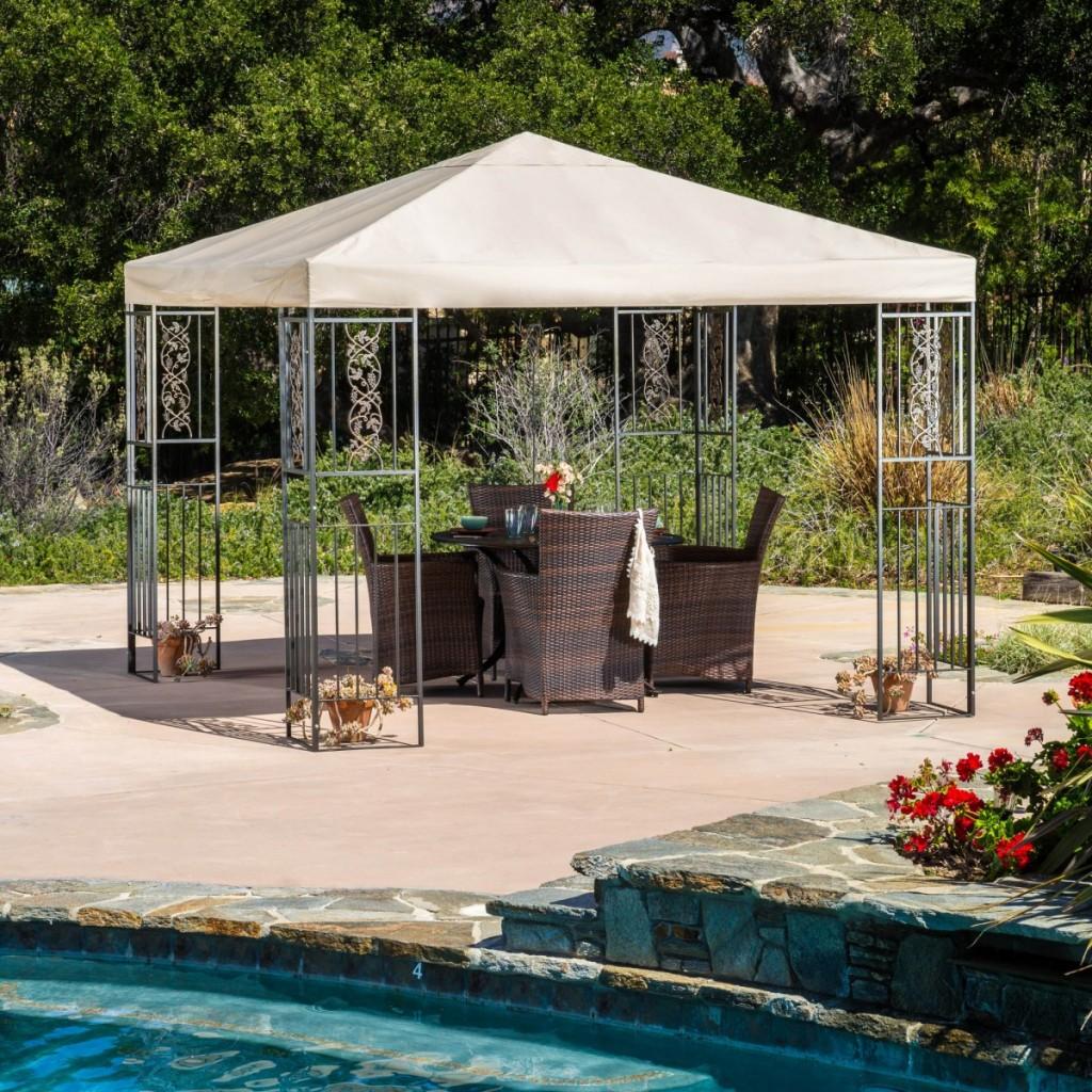 exterior-modern-gazebo-design-backyard-side-gazebo-design-software-pole-victorian-wrought-iron-pergola-lighting-ideas-gazebo-round-wood-coffee-table-rattan-armchair-gray-granite-floor-beige-vinyl-coat