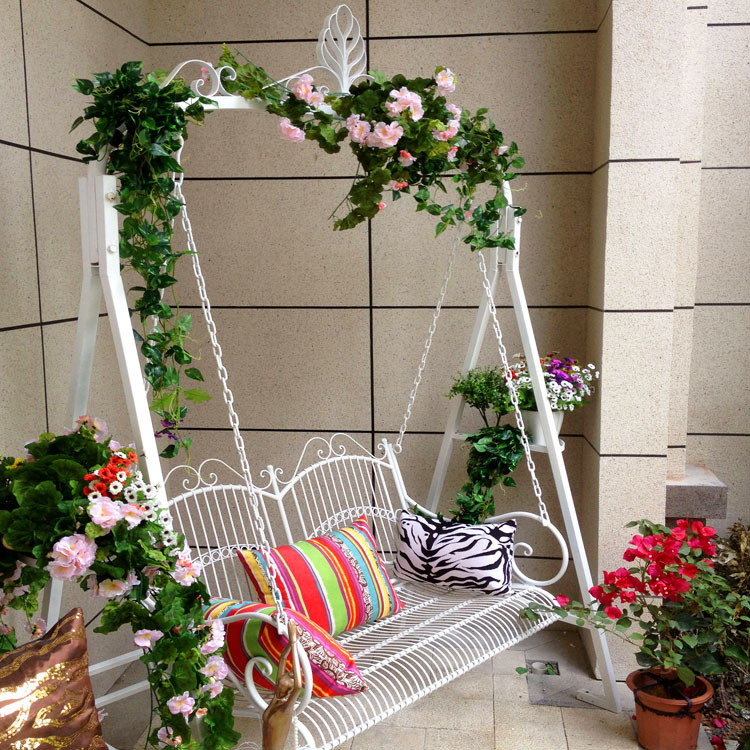 Outdoor-wrought-iron-balcony-lounge-chair-cradle-swing-chair-hammock-chair-indoor-and-outdoor-balcony-Double